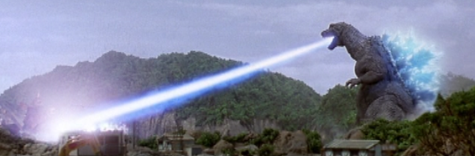 Wide view of Godzila using his atomic breath
